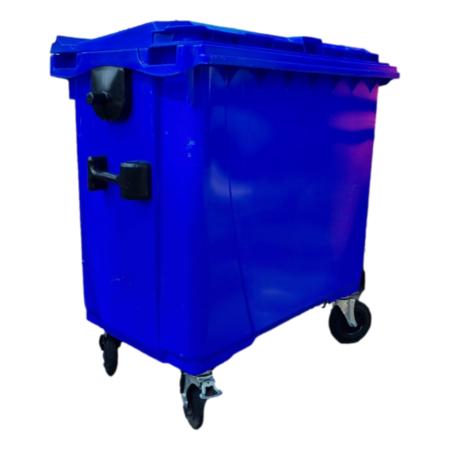 SalesBridges Afvalcontainer 660L Zwart op wielen Blauw DIN-opname