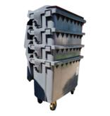 SalesBridges Afvalcontainer 770L op wielen Zwart DIN-opname