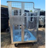 SalesBridges Afval gaascontainer 2000L gegalvaniseerd op wielen met Geesink opname  voor karton, papier