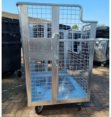 SalesBridges Waste wire mesh container 2000L galvanized  on wheels for cardboard, papers