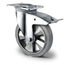 Zwenkwiel met rem zwaarlast 160 mm elastisch rubber grijs