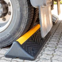 Heavy duty wheel stop from hard rubber
