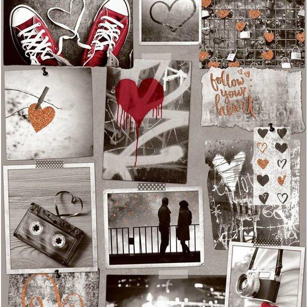 Dutch Wallcoverings Freestyle Fotomuur Love - Beige/rood