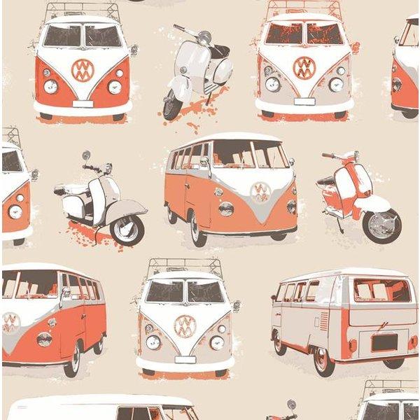 Dutch Wallcoverings Freestyle VW Bus en Scooter - Beige/oranje