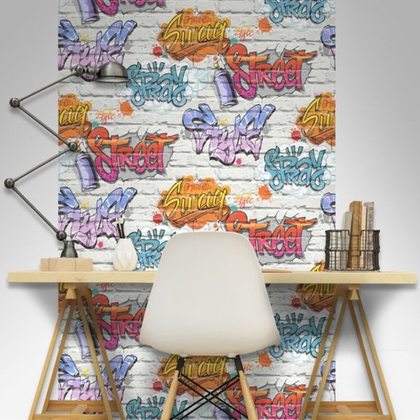 Dutch Wallcoverings Freestyle Baksteen Wit Graffiti Blauw/lila