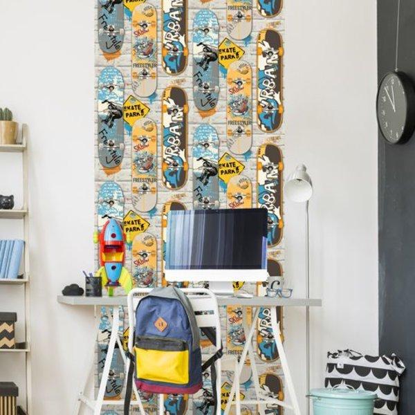 Dutch Wallcoverings Freestyle Skateboard - Grijs/geel/blauw