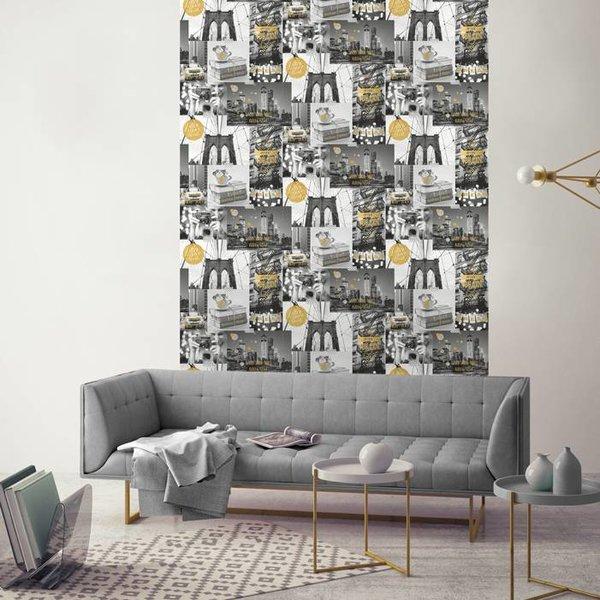 Dutch Wallcoverings Freestyle New York Collage - Grijs/goud