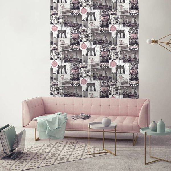 Dutch Wallcoverings Freestyle New York Collage - Grijs/roze