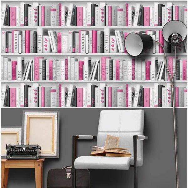 Dutch Wallcoverings Freestyle Boekenkast - Grijs/roze