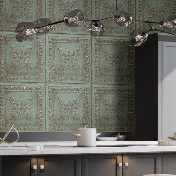 Dutch Wallcoverings Restored Ornament Tile - Groen
