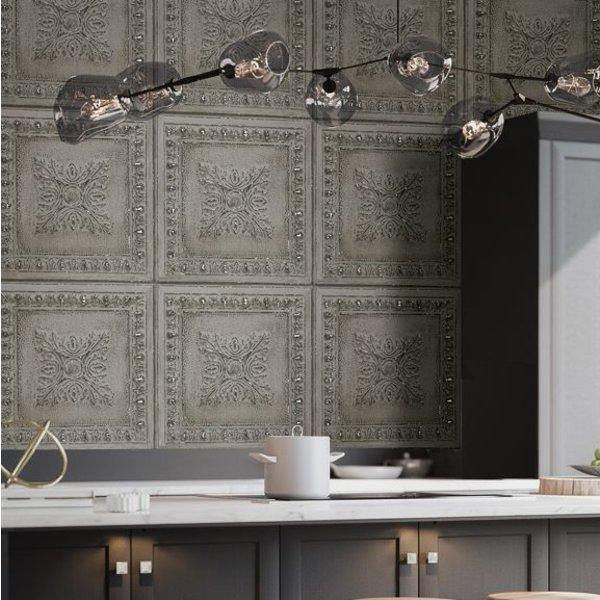 Dutch Wallcoverings Restored Ornament Tile - Grijs
