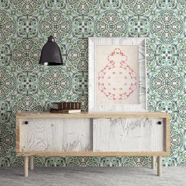 Dutch Wallcoverings Restored Florentine Tile - Groen