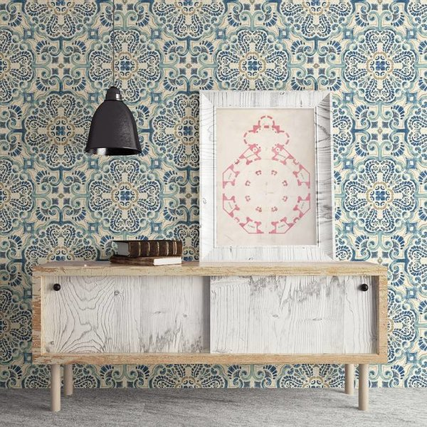 Dutch Wallcoverings Restored Florentine Tile - Blauw/beige