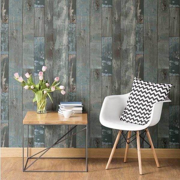 Dutch Wallcoverings Restored Sloophout grijs/blauw