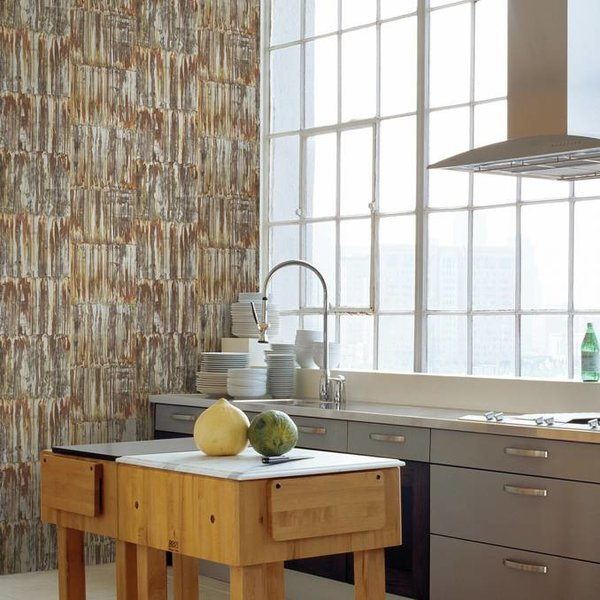 Dutch Wallcoverings Restored Patina Panels - Bruin/goud