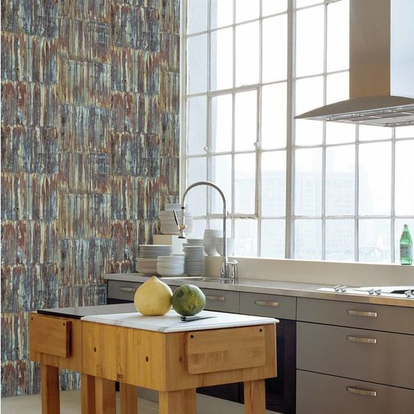 Dutch Wallcoverings Restored Patina Panels - Bruin/blauw