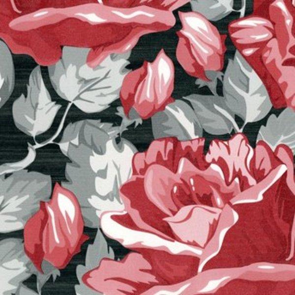 Dutch Wallcoverings San Priamo bloem rood/zwart