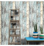 Dutch Wallcoverings Exposed sloophout bruin/blauw