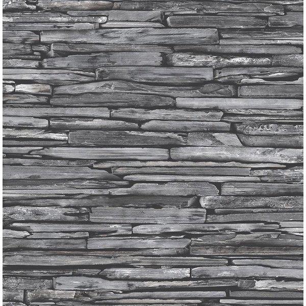 Dutch Wallcoverings Reclaimed leisteen behang donker grijs