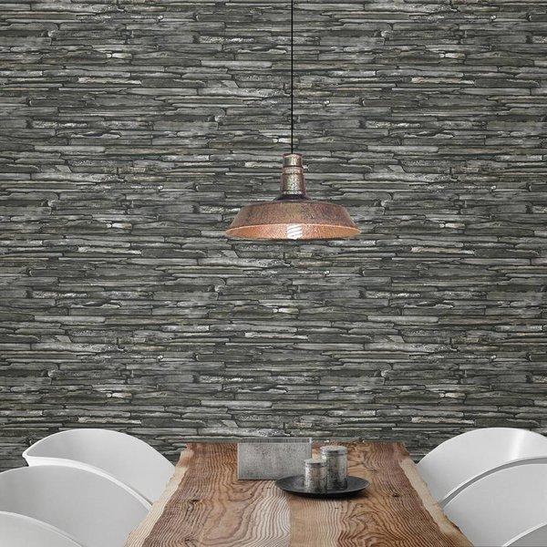 Dutch Wallcoverings Reclaimed leisteen behang grijs groen