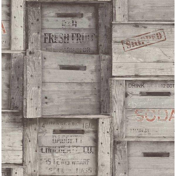 Dutch Wallcoverings Reclaimed houten kisten grijs