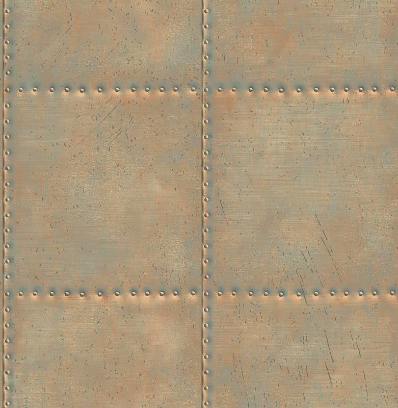 Dutch Wallcoverings Behang.Dutch Wallcoverings Reclaimed Geborsteld Metaal Behang Koper Licht