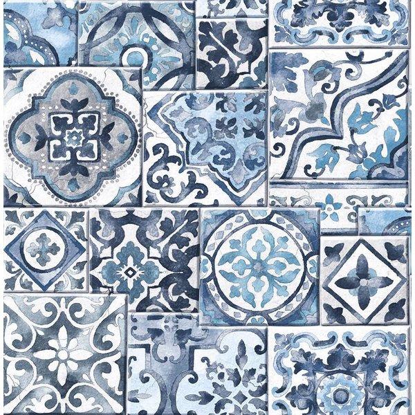 Dutch Wallcoverings Reclaimed mozaïek tegel blauw wit