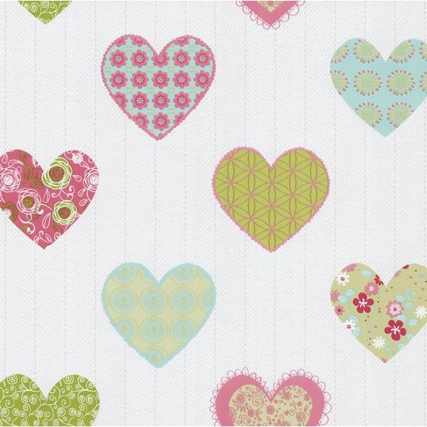 Dutch Wallcoverings Happy Kids hartjes groen roze 05583-20