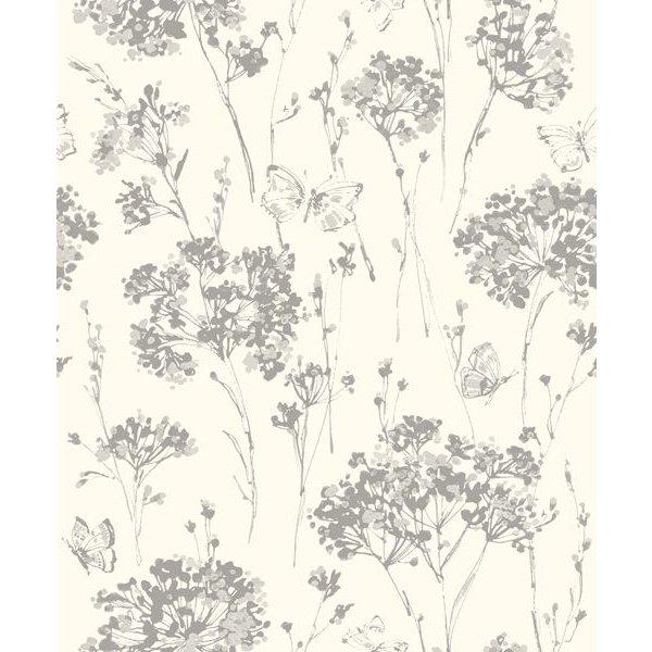 Dutch Wallcoverings Soft & Natural bloem vlinder wit beige