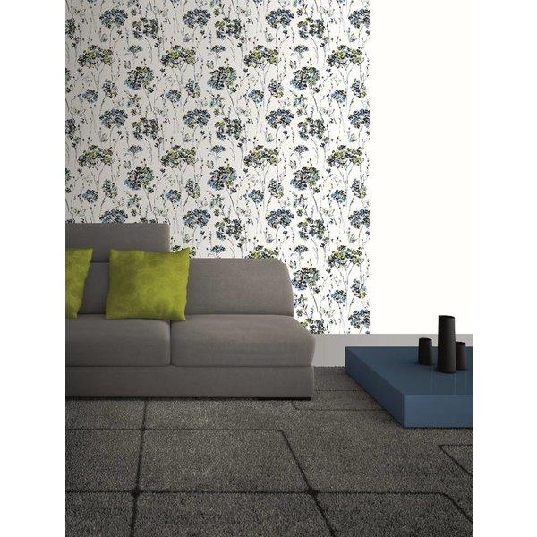 Dutch Wallcoverings Soft & Natural bloem vlinder blauw groen
