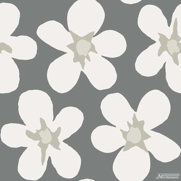 Noordwand Cozz Smile big flower grijs off-white