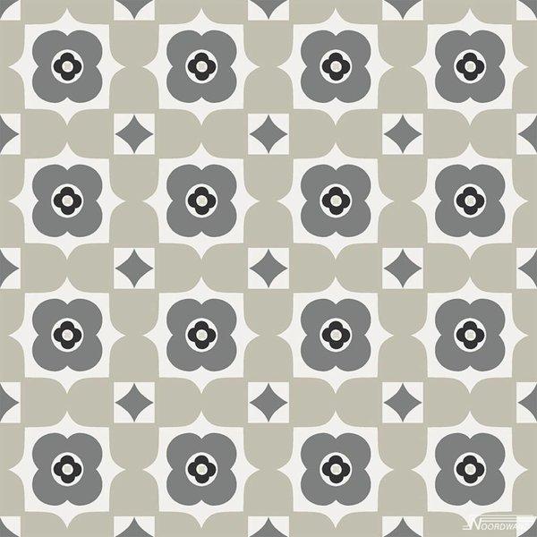Noordwand Cozz Smile retro floral zwart grijs