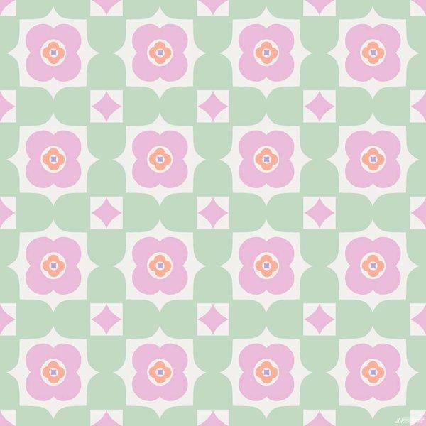 Noordwand Cozz Smile retro floral groen roze