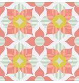Noordwand Cozz Smile retro flower koraalrood mint groen 61168-04