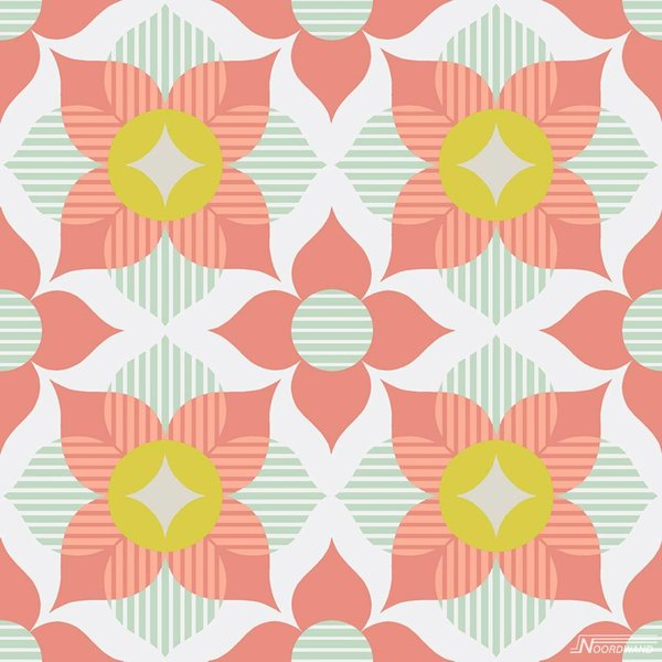 Noordwand Cozz Smile retro flower koraalrood mint groen