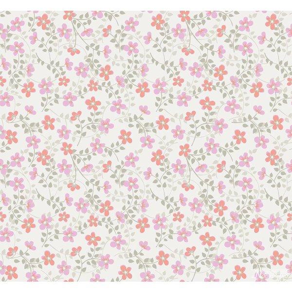 Noordwand Cozz Smile bloemetjes roze koraalrood