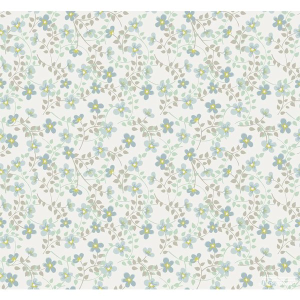 Noordwand Cozz Smile bloemetjes blauw groen