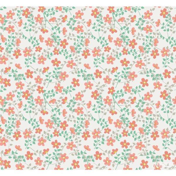 Noordwand Cozz Smile bloemetjes oranje groen