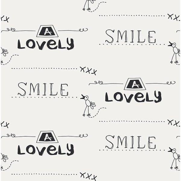 Noordwand Cozz Smile geschreven krijtbord creme