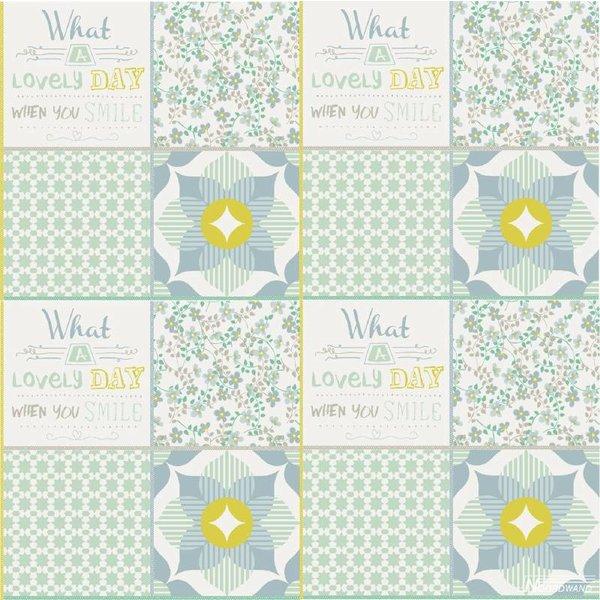 Noordwand Cozz Smile patchwork mint blauw groen