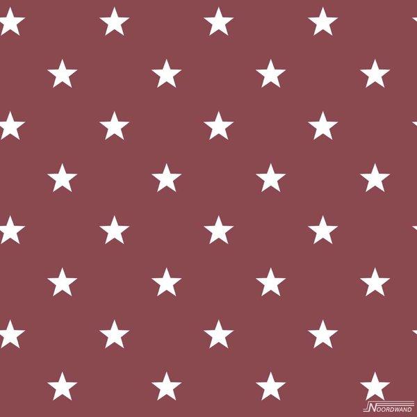 Noordwand Deauville kleine sterren bordeaux rood