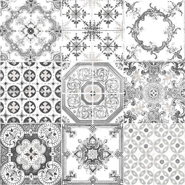Dutch Wallcoverings Royal Dutch 7 patchwork tegel zwart wit