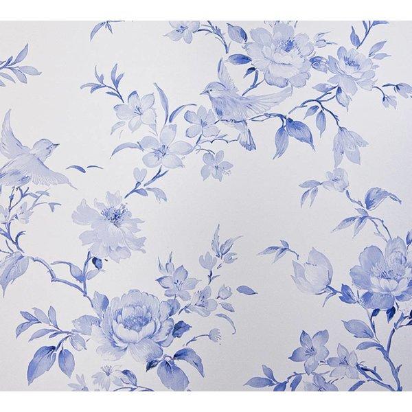 Dutch Wallcoverings Royal Dutch 7 Bloemen vogel delfts blauw