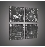 Dutch Wallcoverings Canvas set Krijtbord fiets 2025S20