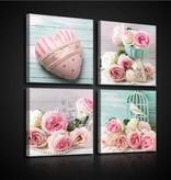 Dutch Wallcoverings Canvas set Roze Rozen 2573S20
