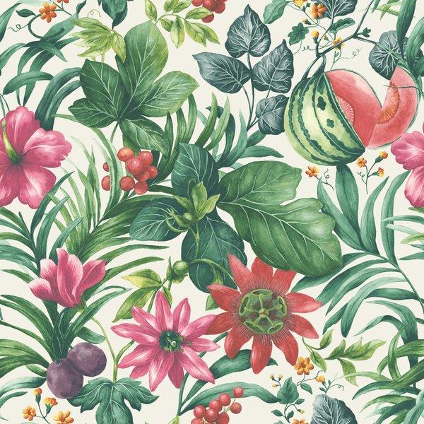 Dutch Wallcoverings Botanical Bloemen wit, groen en roze