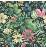 Dutch Wallcoverings Bontanical Bloemen zwart, groen en roze BA2003