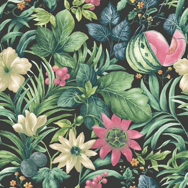 Dutch Wallcoverings Botanical Bloemen zwart, groen en roze