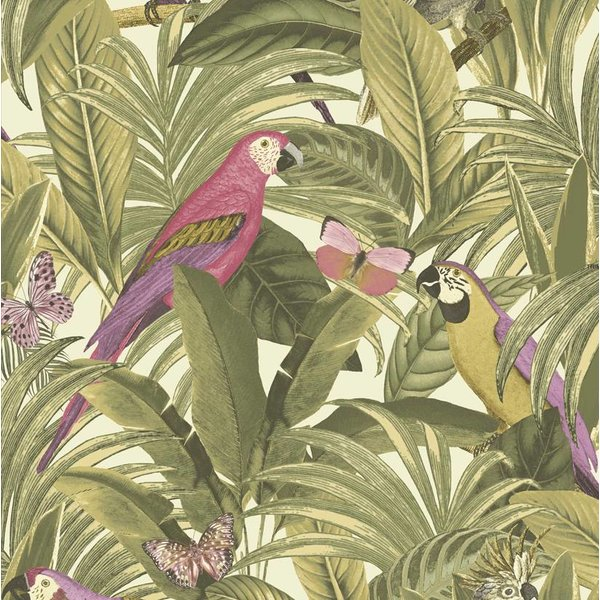 Dutch Wallcoverings Botanical Papegaai groen/roze