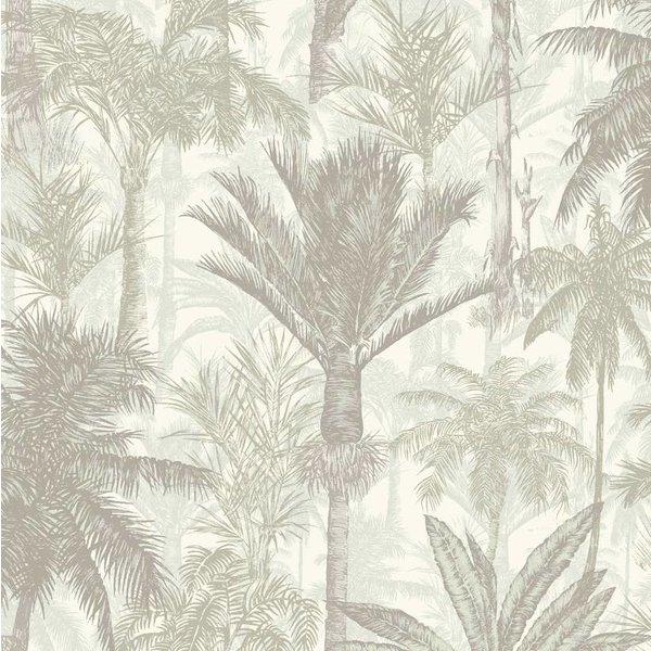 Dutch Wallcoverings Botanical Palmbomen grijs/wit